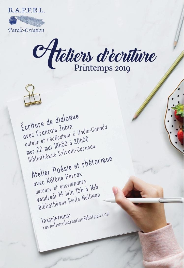Atelier écriture printemps 2019