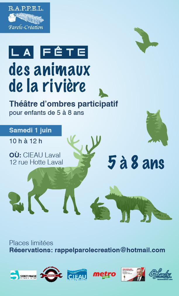 Fête animaux rivière